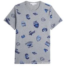 Novos Homens Moda T-Shirts Algodão Impresso Em Torno Do Pescoço T-Shirts