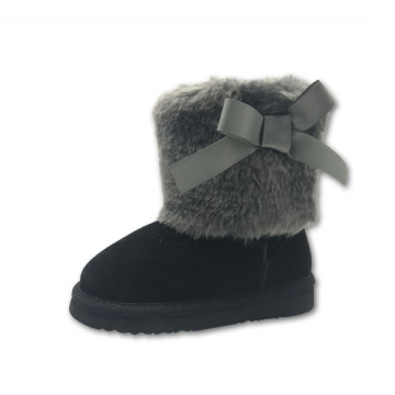 Girls Black Winter Boots with Bow