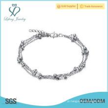 Tornozeleiras de platina de prata antiga, pulseiras de tornozeleira perlada jóias on-line