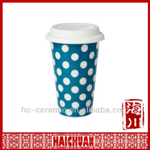 11 oz double wall ceramic cup, eco coffee cups silicone lid