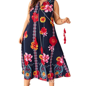 Plus Size Casual Frauen drucken langes Kleid