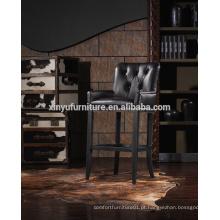 Cadeira alta de alta qualidade em couro preto A629