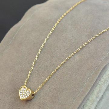 Simple Gold Plated Chain Heart Necklace With Crystal Stones