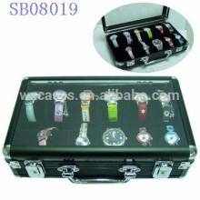 caixas de relógio de alumínio 12 luxo, caixa de relógio para homens com uma clara mostrar top vendas por atacado, com opção de cores diferentes