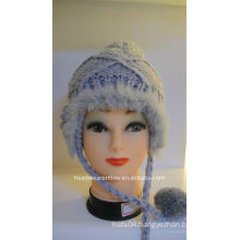 knitted hats with earflag and pompon