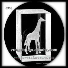 K9 3D Laser Giraffe Inside Crystal Rectangle