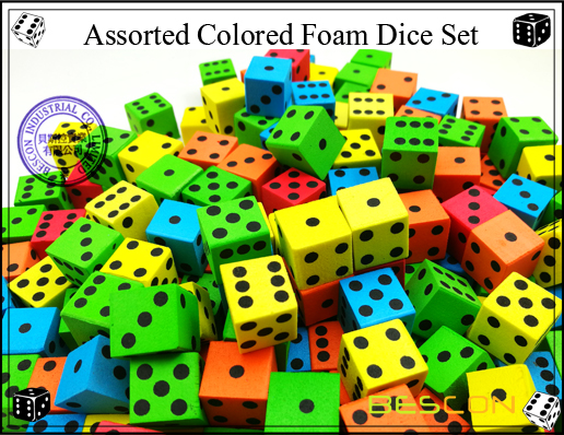 Assorted Colored Foam Dice Set-3