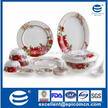 Новый набор посуды из костей фарфора с красным цветком dcal для сервировки стола