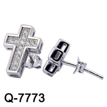 Pendientes cruzados de joyería de plata 925 (Q-7773)