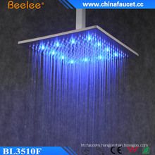 Bathroom Square Brass Waterfall Rainfall Mix LED Shower Head