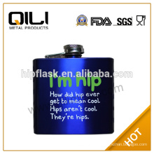 Hot sale FDA stainless steel Blue spray piant hip flask with silk screen logo the best gifts to man