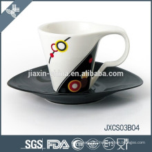 180CC porcelain oval coffee cup and saucer, new design cup set, small cup set