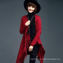 Senhora fashion viscose de nylon malha franja suéter de lã (yky2069)