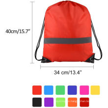 Drawstring Backpack Bag With Reflective Tape