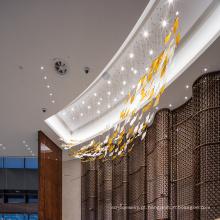 Lustre de hotel de vidro longo branco com novo design personalizado
