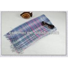 checked hemp linen tassel scarf wholesale