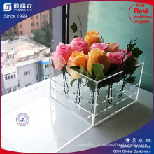 Custom Made Factory Clear Acrylic Rose Box avec couvercle