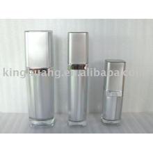 Garrafa de loção cosmética acrílica quadrada prateada