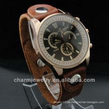 Los relojes más nuevos del cuero genuino relojes del diamante del movimiento de Japón los hombres de la parte posterior del acero inoxidable miran 2015 WL-057
