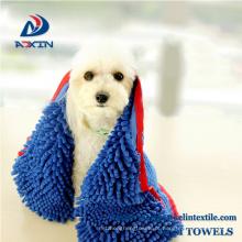Toalha de banho super absorvente do cão com a toalha do animal de estimação do Chenille de Microfiber do bolso grande