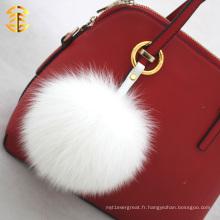 Factory Wholesale 13cm Fox Fur Ball Porte-clés Fur Pom Pom pour sacs