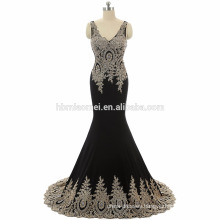 whloesale 2017 black,red color western party wear dress embroidered floor length lace prom dress long with deep v neck