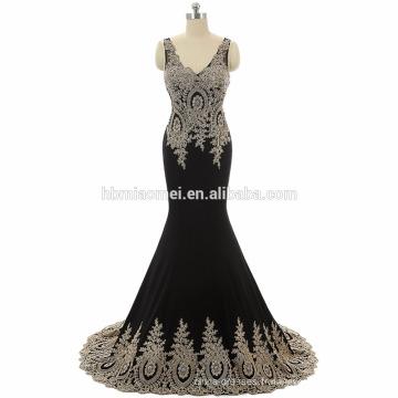 Whloesale 2017 noir, rouge couleur partie occidentale porter robe brodé longueur de plancher dentelle robe de bal longue avec v profond col