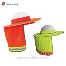 Vente chaude Haute Visibilité Réfléchissant Plein Bord Respirant Dur Hat Shade Netting Pour Cou Rabat Casque Parasol