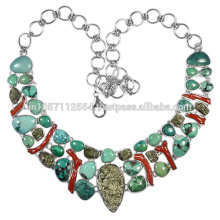 Turquoise Coral & Pyrite Gemstone com 925 Sterling Silver Handmade Necklace
