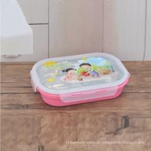 recipiente de alimento de aço inoxidável retangular colorido de 5 compartimentos do compartimento