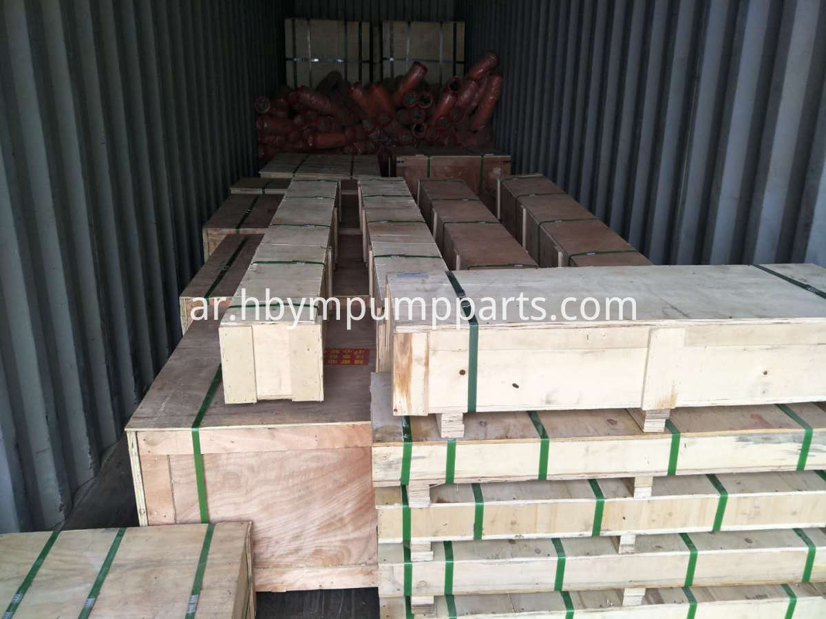 concrete pump spare parts load in container