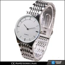 Homens de relógio de aço inoxidável, relógio relógio de quartzo