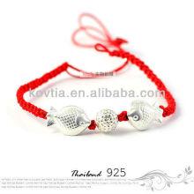 Atacado 925 prata esterlina trançado corda pulseira