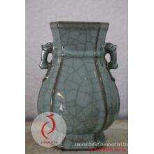 Longquan Cerâmica Esculpida Floral Celadon