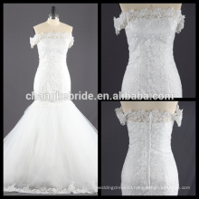 Real Photos Embroidered Mermaid Wedding Gown Off Shoulder Bridal Dress