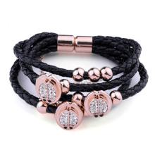 Bracelet en aimant en cuir noir