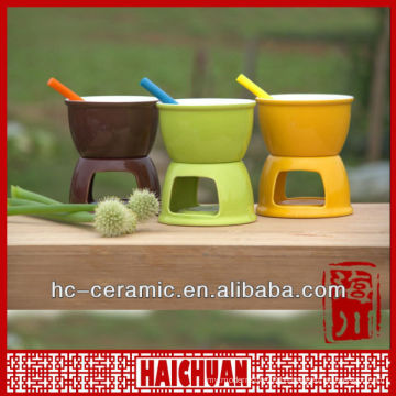 Ceramic cheese fondue set, mini chocolate fondue