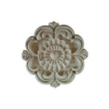 Mueble redondo decoracion tallado flores onlays madera