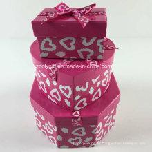 Personalizado de impresión de cinta hexagonal en forma de corazón rectángulo de papel mezclado cajas de regalo conjunto