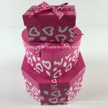 Personalizado de impressão de fita hexagonal em forma de coração retângulo misturado caixas de presente de papel set