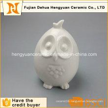 Home Decoration White Glazed Cartoon Owl