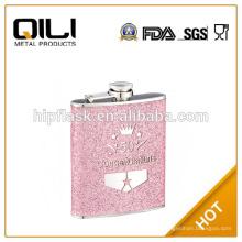 6oz color rosa brillo cuero acero inoxidable metal frasco de la cadera con logo