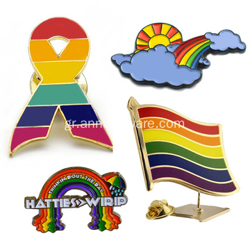 Custom Gold Enamel Flag Rainbow Metal Emblem