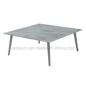 Современные квадратные мраморные кафе ресторан стол с металлической ноге (СП-GT440)