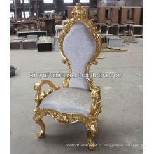 Grande cadeira de rei de leão esculpida antiga XY0349-2