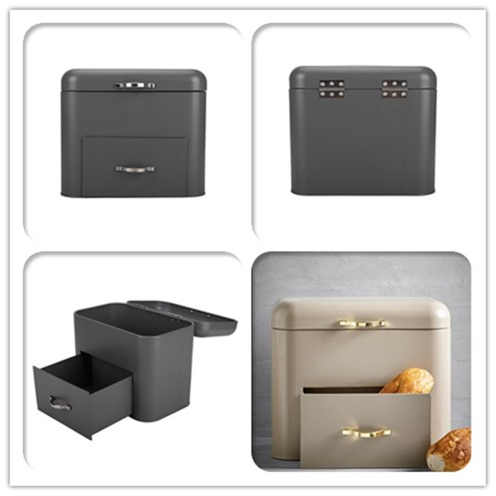 Black Bread Bin with Drawer