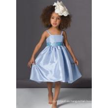 Vestido de niña de flores de tafetán de espagueti de una línea