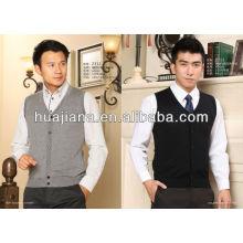 colete de camisola de pescoço puro Cashmere V para homem