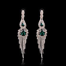 Зеленый Кристалл Мода Мотаться Серьги Серебро Горный Хрусталь