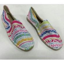 Конопляная подошва оптовой дешевой белой печати espadrille обувь Мужчины / Женская классическая обувь холст